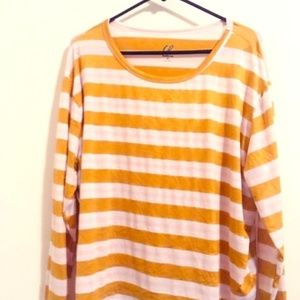 Charlotte Russe Yellow Stripped Long-Sleeve Sz 3x